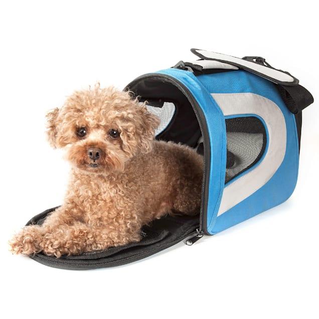 Pet Life Folding Zippered Sporty Mesh Pet Carrier in Blue & Gray, Medium - Carousel image #1