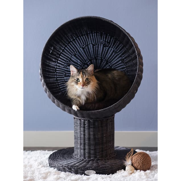 """The Refined Feline Kitty Ball Bed in Espresso, 28"""" H - Carousel image #1"""