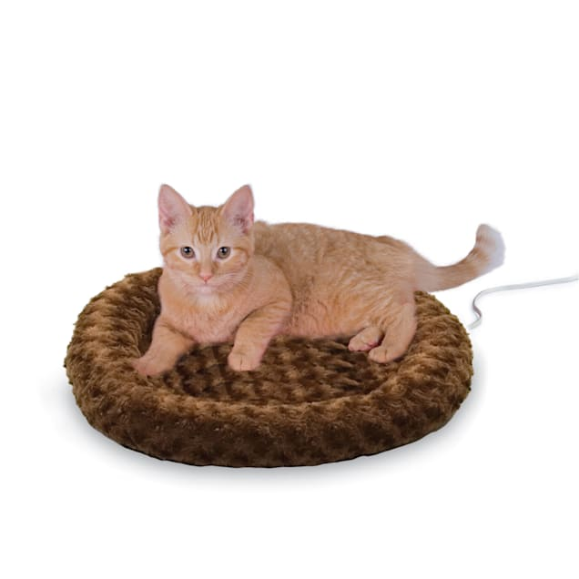 "K&H Thermo-Kitty Fashion Splash Mocha Heated Cat Bed, 18"" L x 18"" W - Carousel image #1"