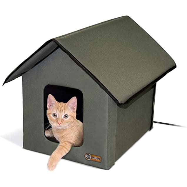 K&H Outdoor Heated Kitty Cat House in Olive - Carousel image #1