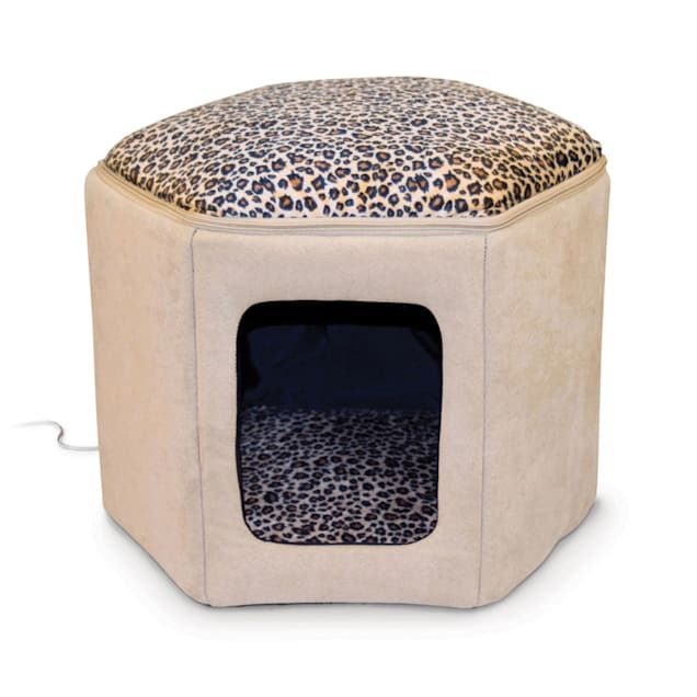 """K&H Thermo-Kitty Sleep House Heated Cat Bed in Tan and Leopard Print, 17"""" L x 16"""" W - Carousel image #1"""