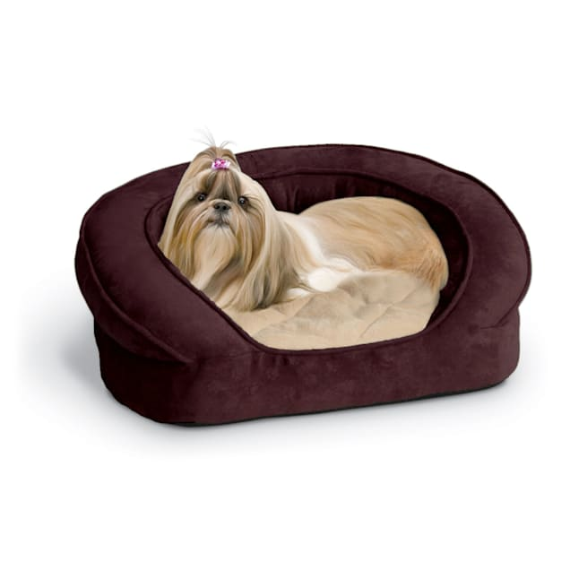 """K&H Deluxe Ortho Bolster Sleeper Dog Bed in Eggplant with Paw Prints, 40"""" L x 33"""" W - Carousel image #1"""
