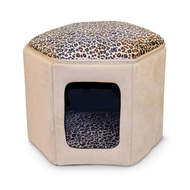 """K&H Kitty Sleep House Cat Bed in Tan and Leopard Print, 17"""" L X 16"""" W X 13"""" H - Carousel image #1"""