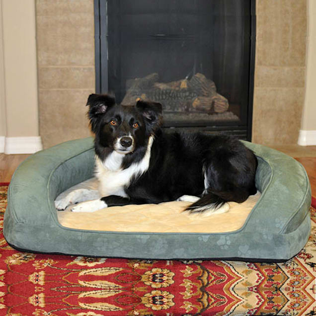 """K&H Deluxe Ortho Bolster Sleeper Dog Bed in Green with Paw Prints, 40"""" L x 33"""" W - Carousel image #1"""