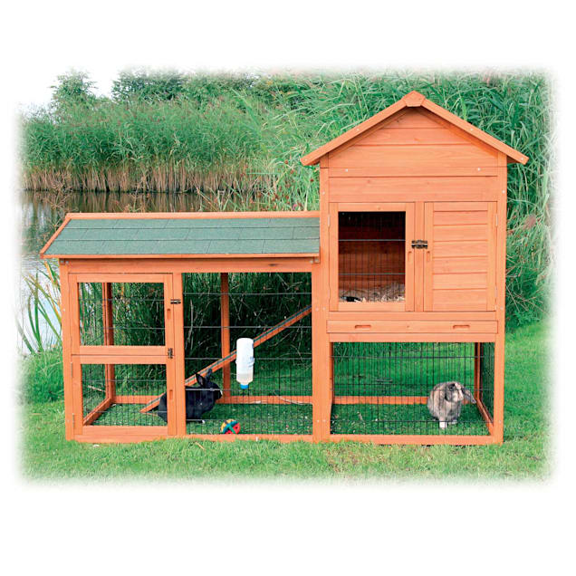 """Trixie Natura Two Story Rabbit Hutch with Large Run, 78"""" L X 58"""" W X 36.5"""" H - Carousel image #1"""