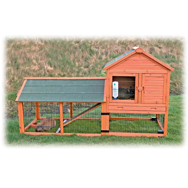 """TRIXIE Natura Two Story Wheeled Rabbit Hutch with Run, 78.3"""" L X 44.5"""" W X 31.75"""" H - Carousel image #1"""