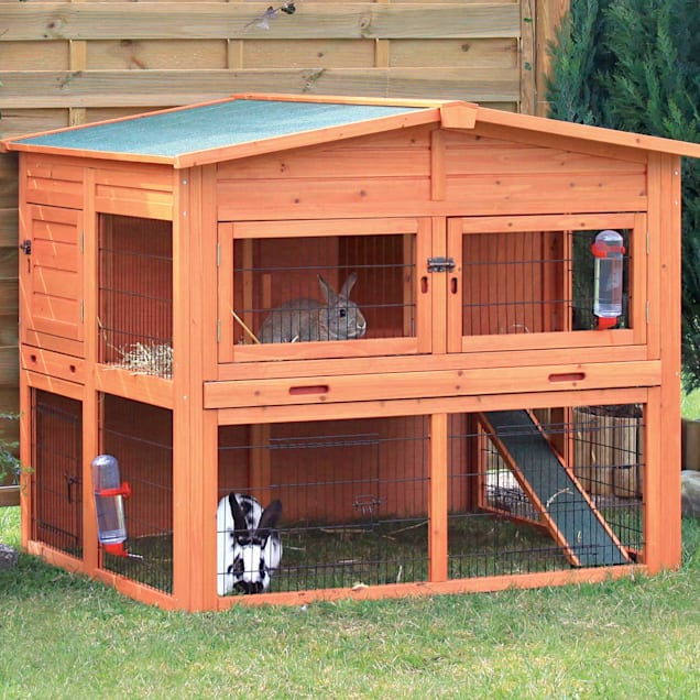 "Trixie Natura XL Two Story Rabbit Hutch with Outdoor Run, 53"" L X 45"" W X 44"" H - Carousel image #1"
