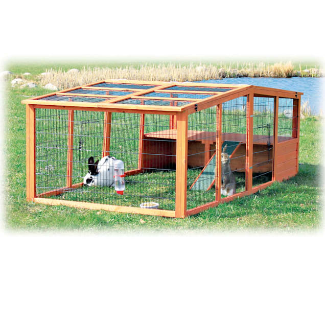 """Trixie Natura Peaked Roof Outdoor Rabbit Run with Shelter, 31"""" L X 94.5"""" W X 45.5"""" H - Carousel image #1"""