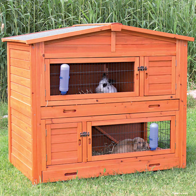 """TRIXIE Natura Two Story Peaked Roof Rabbit Hutch, 52.25"""" L X 32.25"""" W X 47.25"""" H - Carousel image #1"""