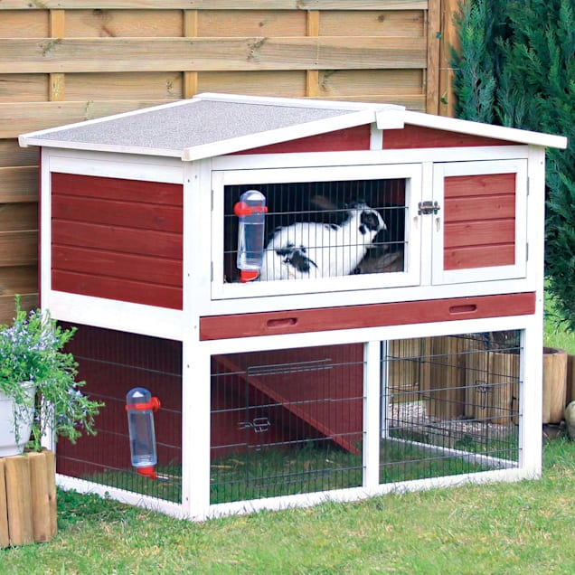 """Trixie Natura Animal Hutch with Peaked Roof in Red & White, 48.25"""" L X 29.75"""" W X 37.75"""" H - Carousel image #1"""