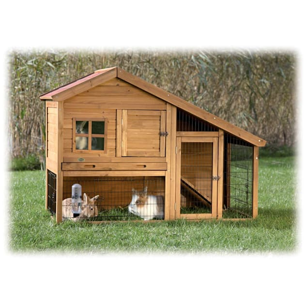 """TRIXIE Natura Two Story Sloped Roof Rabbit Hutch with Run, 59.25"""" L X 42""""W X 31.5"""" H - Carousel image #1"""
