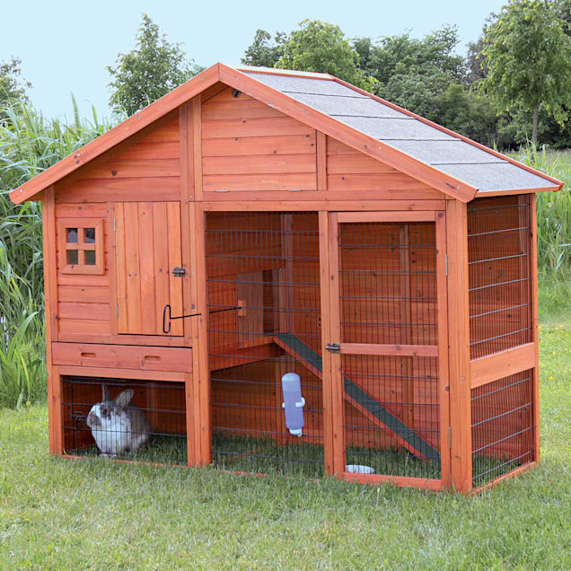 """Trixie Natura Two Story Hatched Gable Rabbit Hutch with Run, 76.75""""L X 59.75"""" W X 31.5"""" H - Carousel image #1"""