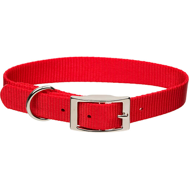 """Coastal Pet Metal Buckle Nylon Personalized Dog Collar in Red, 5/8"""" Width - Carousel image #1"""