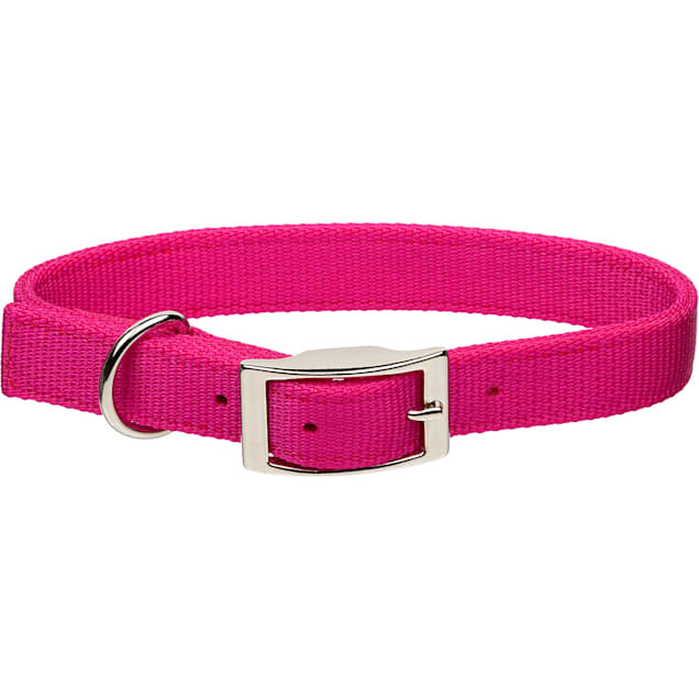 "Coastal Pet Metal Buckle Double Ply Nylon Personalized Dog Collar in Pink Flamingo, 1"" Width - Carousel image #1"