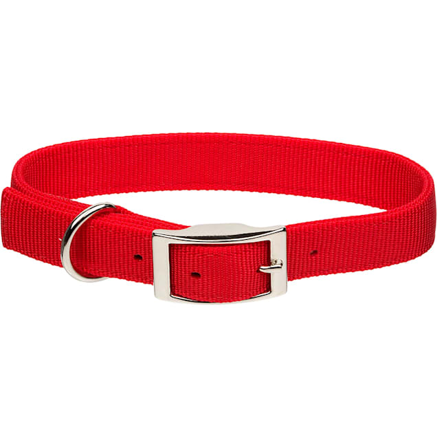"Coastal Pet Metal Buckle Double Ply Nylon Personalized Dog Collar in Red, 1"" Width - Carousel image #1"