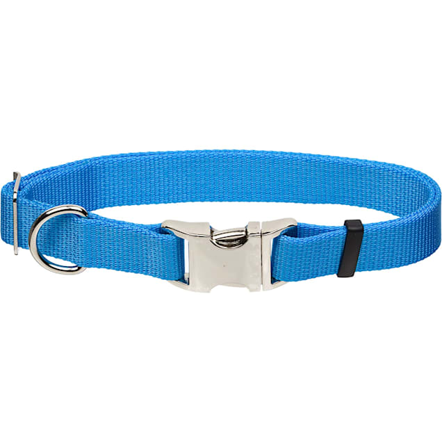 "Coastal Pet Metal Buckle Nylon Adjustable Personalized Dog Collar in Light Blue, 1"" Width - Carousel image #1"
