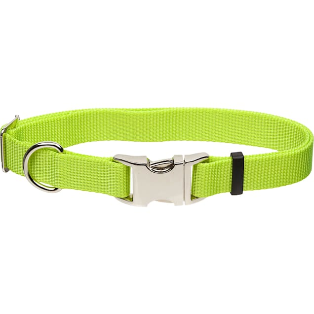 "Coastal Pet Metal Buckle Nylon Adjustable Personalized Dog Collar in Lime, 1"" Width - Carousel image #1"