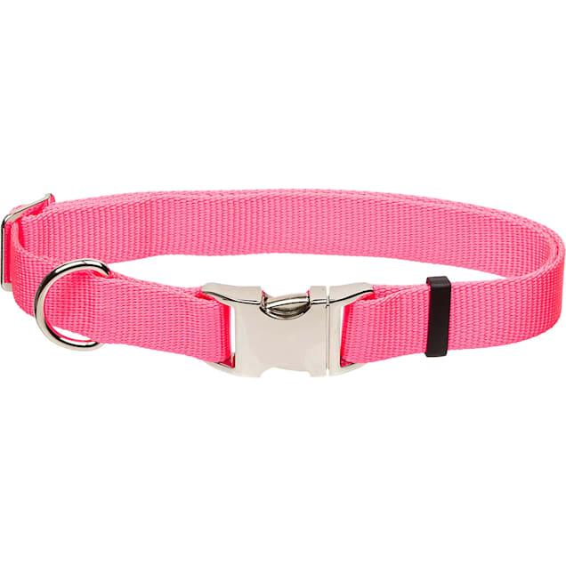 "Coastal Pet Metal Buckle Nylon Adjustable Personalized Dog Collar in Neon Pink, 1"" Width - Carousel image #1"