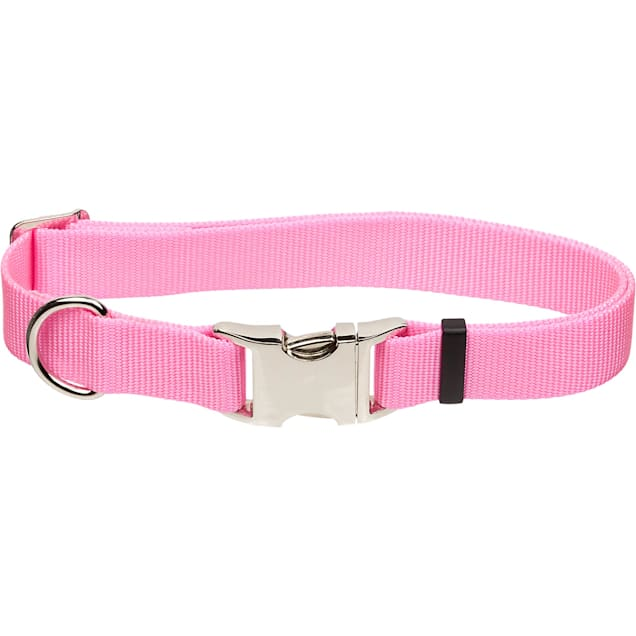 """Coastal Pet Metal Buckle Nylon Adjustable Personalized Dog Collar in Bright Pink, 1"""" Width - Carousel image #1"""