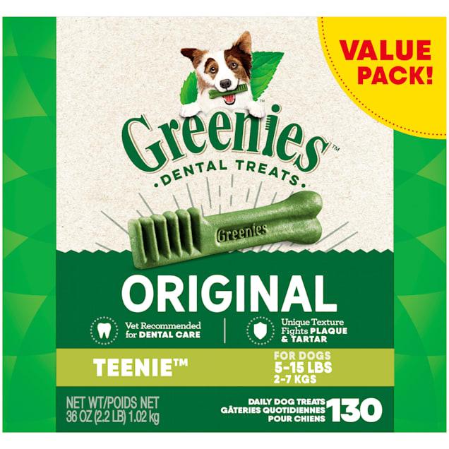 Greenies Original Teenie Natural Dog Dental Care Chews Oral Health Dog Treats, 36 oz., Count of 130 - Carousel image #1