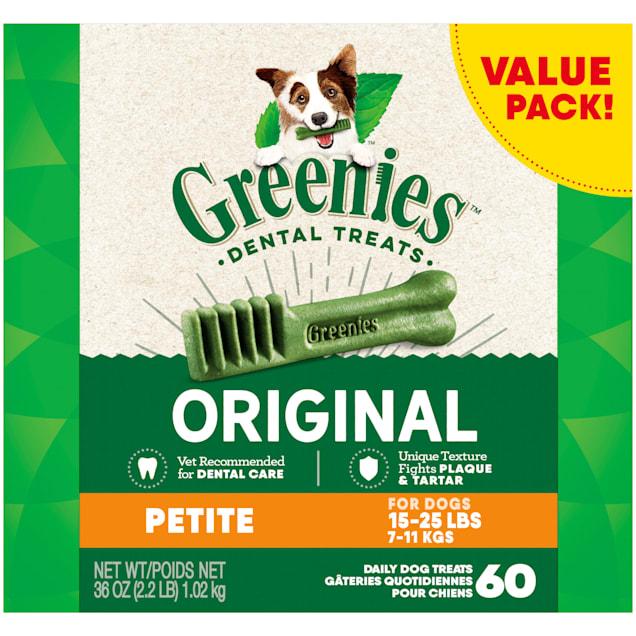 Greenies Original Petite Natural Dog Dental Care Chews Oral Health Dog Treats, 36 oz., Count of 60 - Carousel image #1