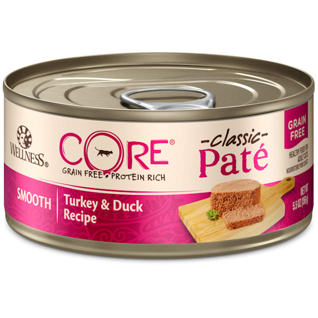 Wellness CORE Natural Grain Free Turkey & Duck Pate Wet Cat Food, 5.5 oz., Case of 24 - Carousel image #1