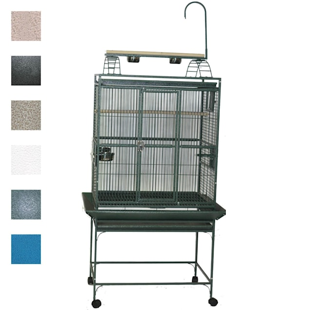"""A&E Cage Company 32"""" X 23"""" Play Top Bird Cage in Green - Carousel image #1"""