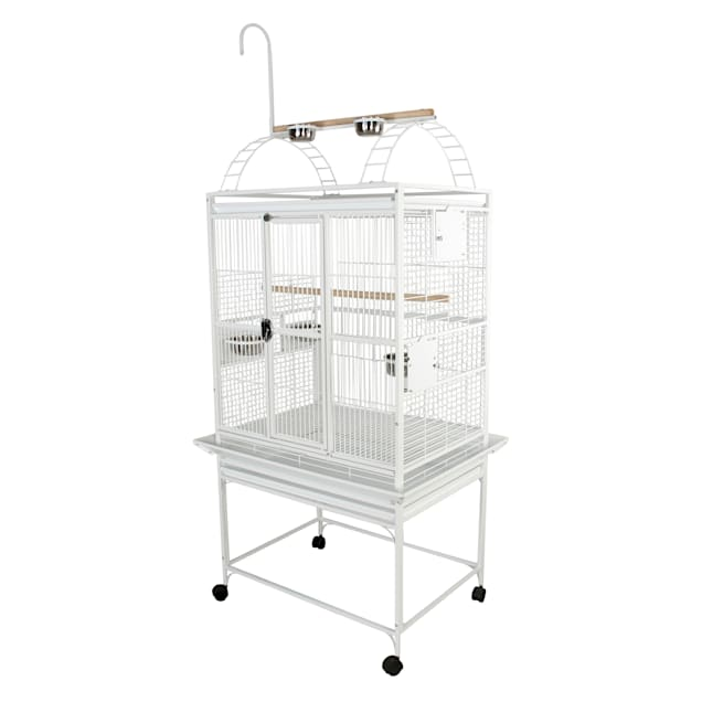 """A&E Cage Company 32"""" X 23"""" Play Top Bird Cage in White - Carousel image #1"""