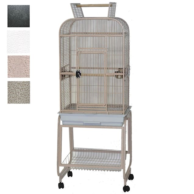 """A&E Cage Company Play Top Bird Cage with Plastic Base, 22"""" L X 17"""" W X 66"""" H, Platinum - Carousel image #1"""