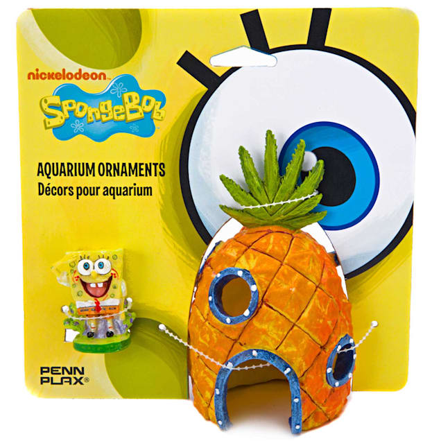 Penn Plax SpongeBob & Pineapple House Aquarium Ornament, Pack of 2 ornaments - Carousel image #1