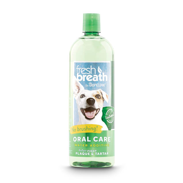 TropiClean Fresh Breath Dental Health Solution for Dogs, 33.8 fl. oz. - Carousel image #1
