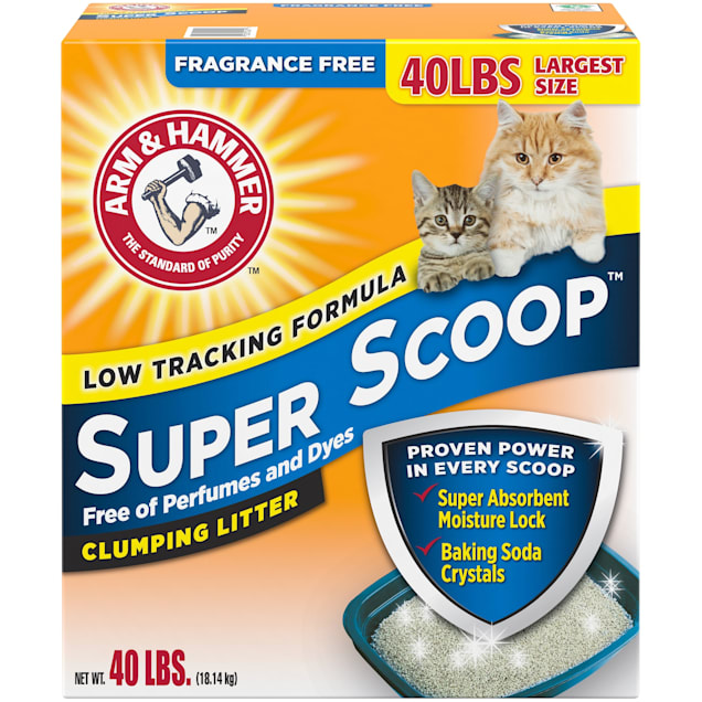 Arm & Hammer Super Scoop Fragrance Free Baking Soda Clumping Litter, 40 lbs. - Carousel image #1