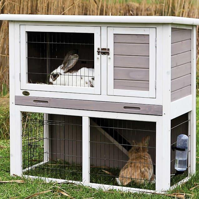 "TRIXIE Natura Animal Hutch with Enclosure in Gray & White, Small, 40.75"" L X 20.25' W X 38"" H - Carousel image #1"
