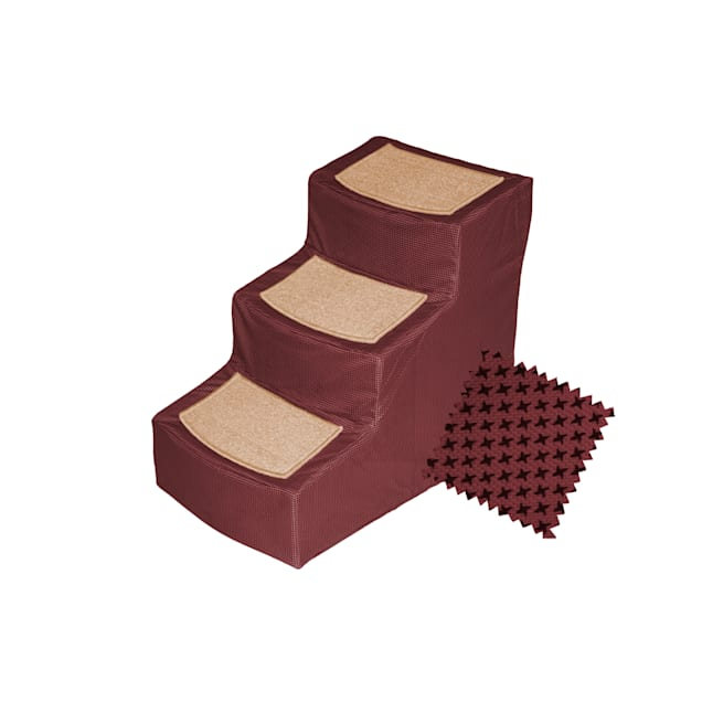 Pet Gear Burgundy Designer 3 Step Stair with Removable Cover - Carousel image #1