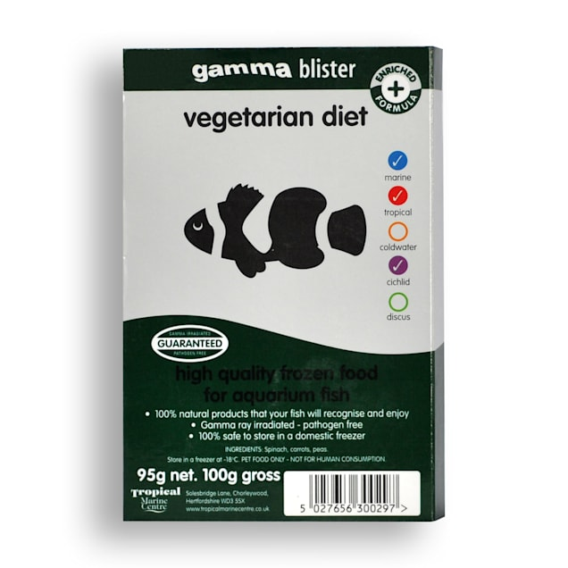 Gamma Frozen Food Vegetarian Diet Blister Pack Fish Food, 570 GM, 6pk - Carousel image #1