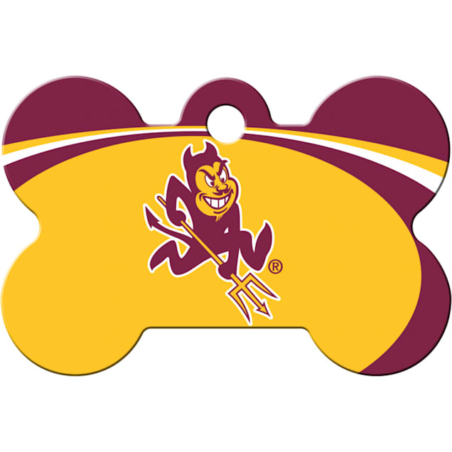 """Quick-Tag ASU Sun Devils NCAA Bone Personalized Engraved Pet ID Tag, 1 1/2"""" W X 1"""" H - Carousel image #1"""