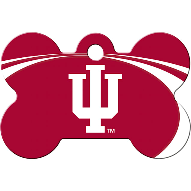 """Quick-Tag University of Indiana NCAA Bone Personalized Engraved Pet ID Tag, 1 1/2"""" W X 1"""" H - Carousel image #1"""