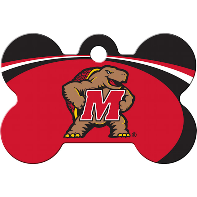 """Quick-Tag University of Maryland NCAA Bone Personalized Engraved Pet ID Tag, 1 1/2"""" W X 1"""" H - Carousel image #1"""