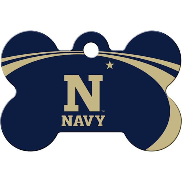 """Quick-Tag Navy NCAA Bone Personalized Engraved Pet ID Tag, 1 1/2"""" W X 1"""" H - Carousel image #1"""