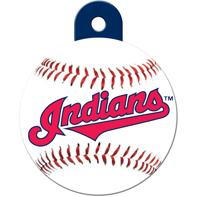 """Quick-Tag Cleveland Indians MLB Personalized Engraved Pet ID Tag, 1 1/4"""" W X 1 1/2"""" H - Carousel image #1"""