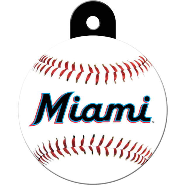 "Quick-Tag Miami Marlins MLB Personalized Engraved Pet ID Tag, 1 1/4"" W X 1 1/2"" H - Carousel image #1"