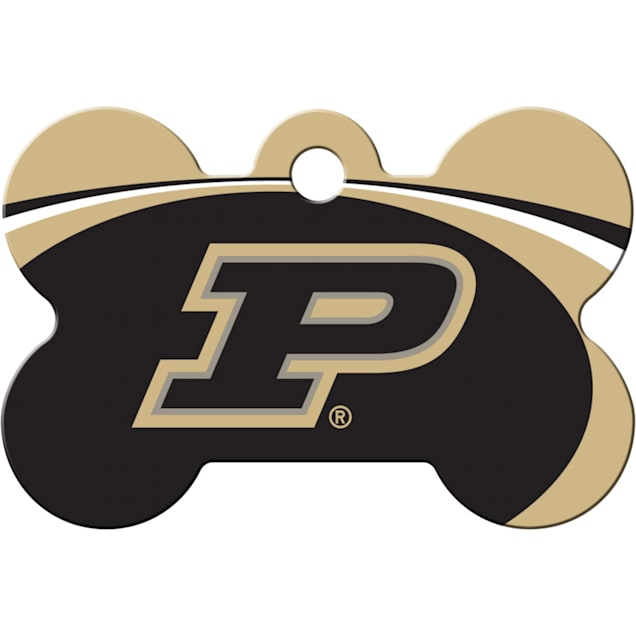 "Quick-Tag Purdue NCAA Bone Personalized Engraved Pet ID Tag, 1 1/2"" W X 1"" H - Carousel image #1"