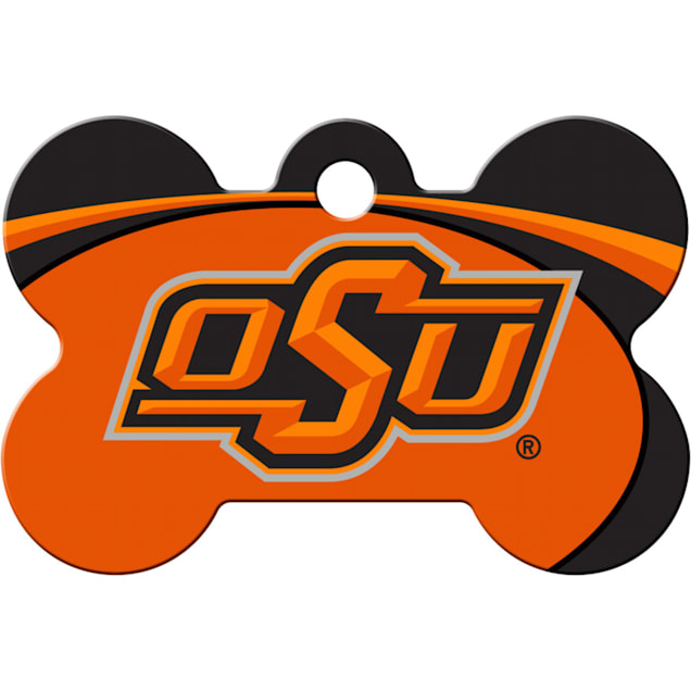 "Quick-Tag Oklahoma State NCAA Bone Personalized Engraved Pet ID Tag, 1 1/2"" W X 1"" H - Carousel image #1"