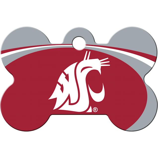 "Quick-Tag Washington State NCAA Bone Personalized Engraved Pet ID Tag, 1 1/2"" W X 1"" H - Carousel image #1"