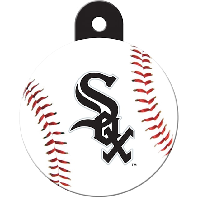 """Quick-Tag Chicago White Sox Personalized Engraved Pet ID Tag, 1 1/4"""" W X 1 1/2"""" H - Carousel image #1"""