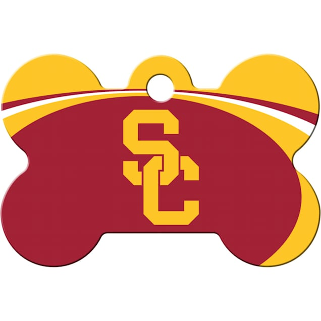 """Quick-Tag USC Trojans NCAA Bone Personalized Engraved Pet ID Tag, 1 1/2"""" W X 1"""" H - Carousel image #1"""