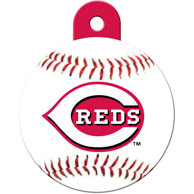 """Quick-Tag Cincinnati Reds MLB Personalized Engraved Pet ID Tag, 1 1/4"""" W X 1 1/2"""" H - Carousel image #1"""