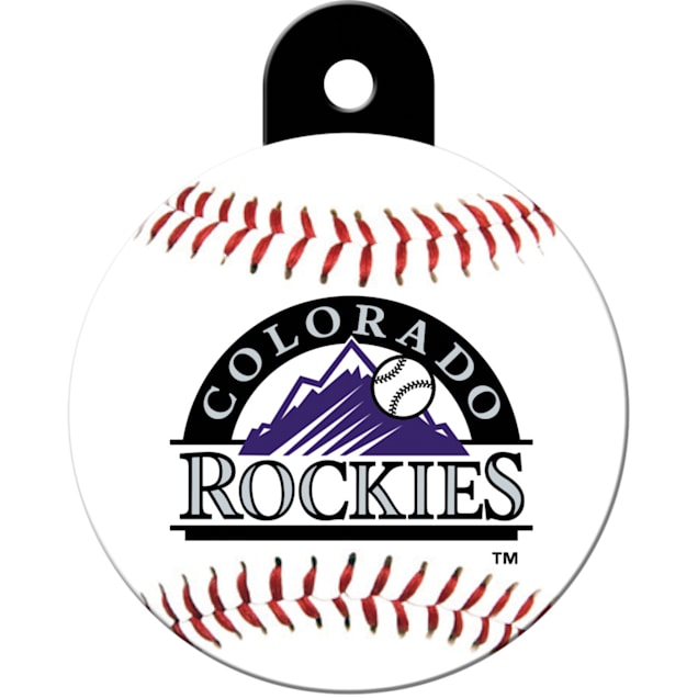 "Quick-Tag Colorado Rockies MLB Personalized Engraved Pet ID Tag, 1 1/4"" W X 1 1/2"" H - Carousel image #1"