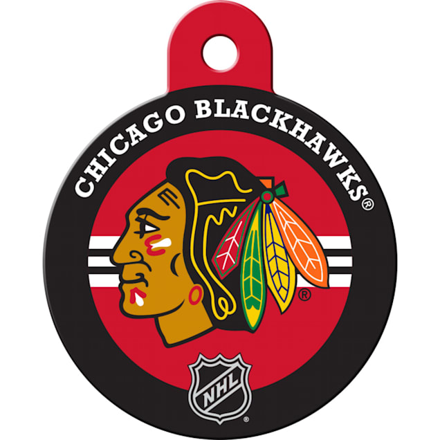 """Quick-Tag Chicago Blackhawks NHL Personalized Engraved Pet ID Tag, 1 1/4"""" W X 1 1/2"""" H - Carousel image #1"""