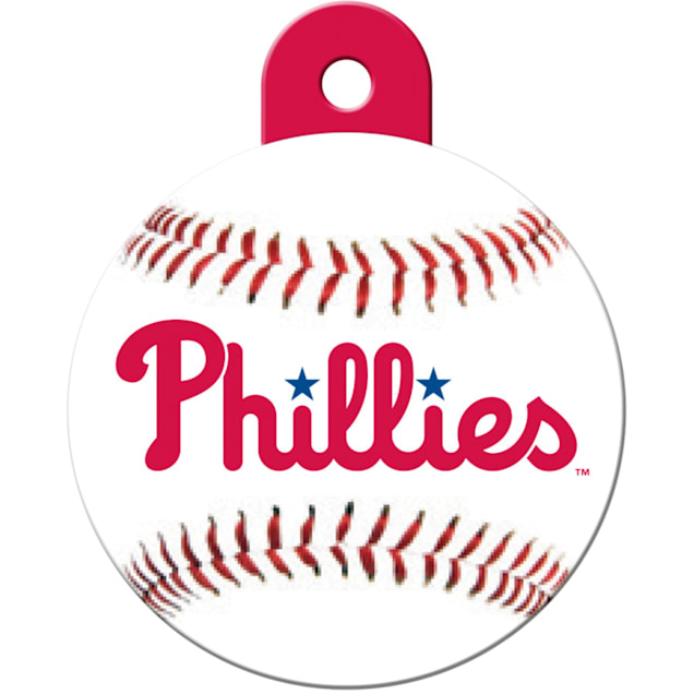 """Quick-Tag Philadelphia Phillies MLB Personalized Engraved Pet ID Tag, 1 1/4"""" W X 1 1/2"""" H - Carousel image #1"""